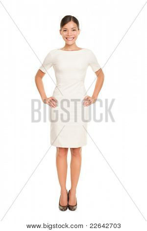 Full body woman portrait standing in business dress suit in full length isolated on white background. Beautiful young mixed race chinese asian / white caucasian businesswoman in her mid twenties