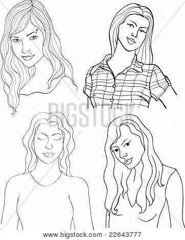 Set Of Girls Isolated On White Background
