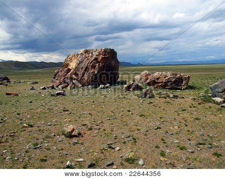 Piedras de culto en estepa, montaña Altai
