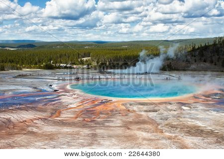 Grand Prismatic Spring em Yellowstone, Wy