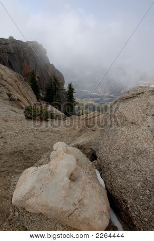 Glacial Erratic  In Fog