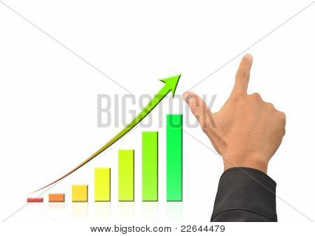 Hand And Growing Bussiness Graph