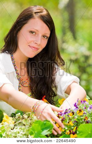 Summer Garden Beautiful Woman Smiling Flower