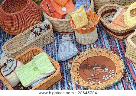 Wicker baskets, bowls, containers