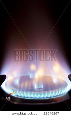 Extreme Closeup Of Gas Flame On Hob