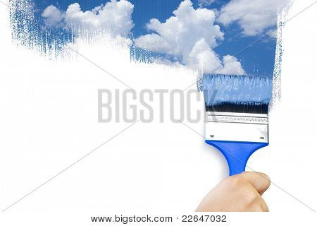 Painting sky / isolated on white with real paints texture / copy space for your text