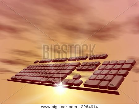 Computer Keyboard In Clouds