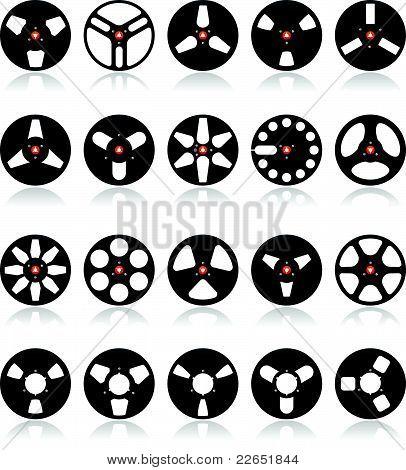 Analog Stereo Tape Reels Icon set