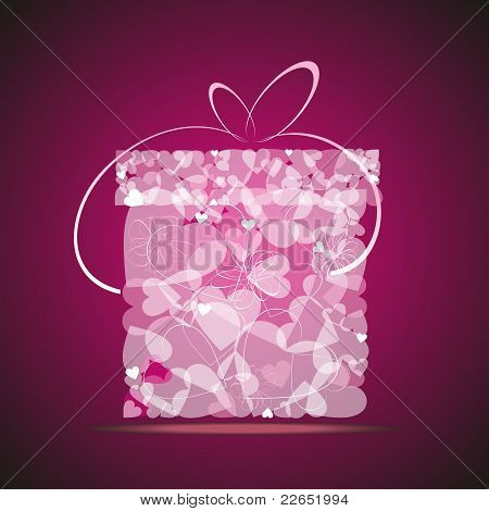 Gift from transparent gentle pink hearts