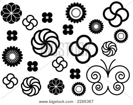 Simple Flowers Ornaments Black And White