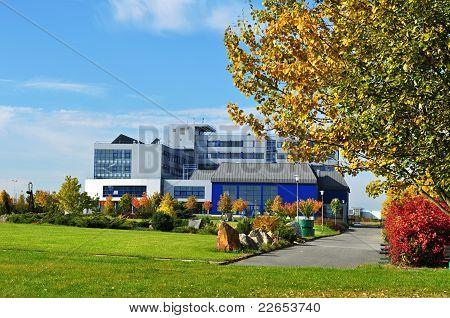 Blue building in autumn