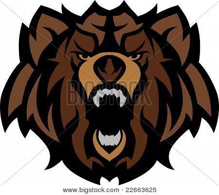 Oso Grizzly mascota cabeza gráfico