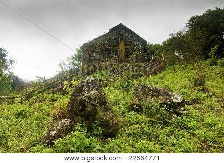 Abandoned Church on Rainy Day
