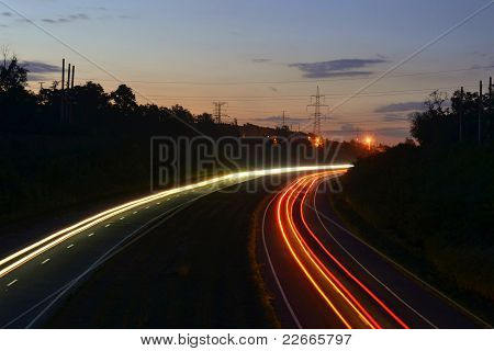 Light lines on road