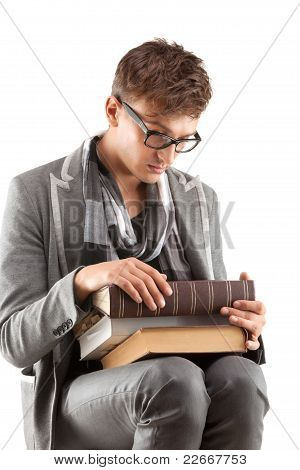 Handsome young man studying
