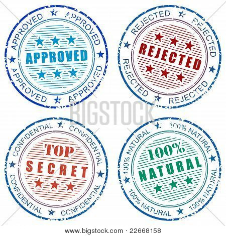 Set of grunge vector stamp prints