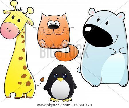 Vector set of cute happy giraffe cat penguin bear