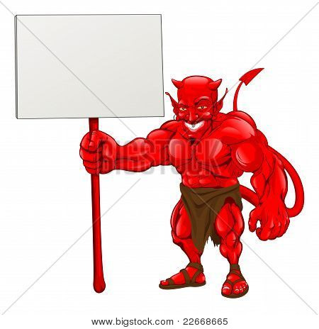 Devil Standing Holding Sign