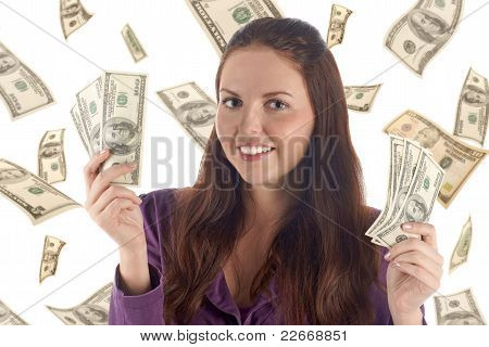 Funny Female With Two Piles Of Banknotes (on Dollars Background)