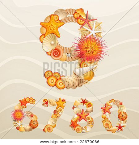 Numbers, vector sea life font on sand background. Check my portfolio for letters.
