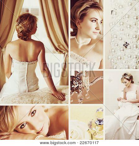 Colagem da bela noiva loira com cabelo curto, vestindo um vestido de noiva branco de cetim com pérola embr
