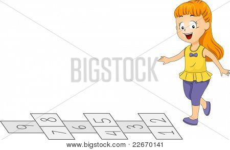 Illustration of a Kid Playing Hopscotch