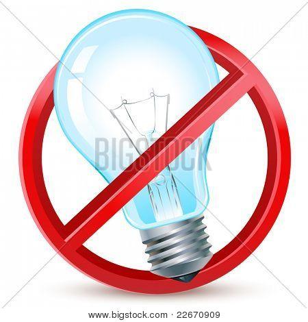 old filament light bulbs forbidden sign