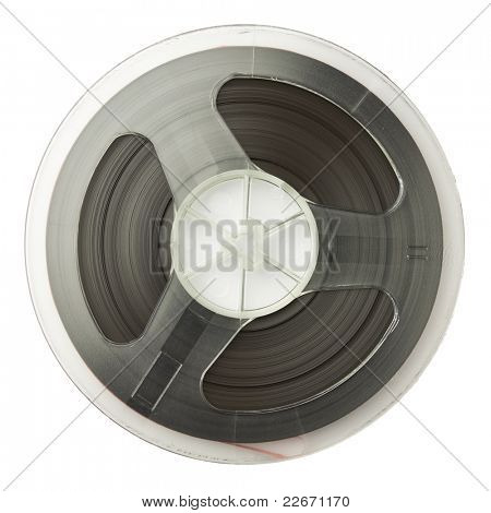 Vintage magnetic audio reel, isolated.