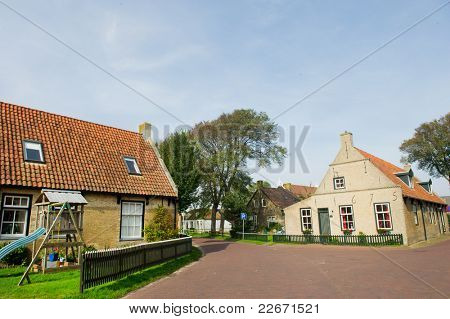 Old Dutch village Hollum on island Ameland