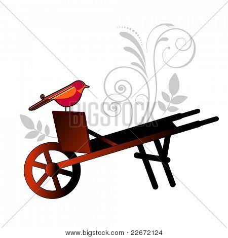 Bird on vintage wheelbarrow - flourish