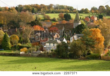 English Village With Church In Autumn
