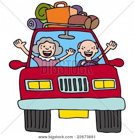 Una imagen de una pareja senior en un coche con maletas y cajas.