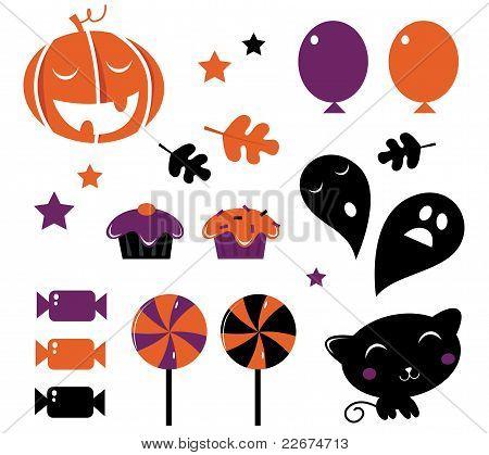 Halloween Icons And Retro Elements Isolated On White - Orange & Purple.