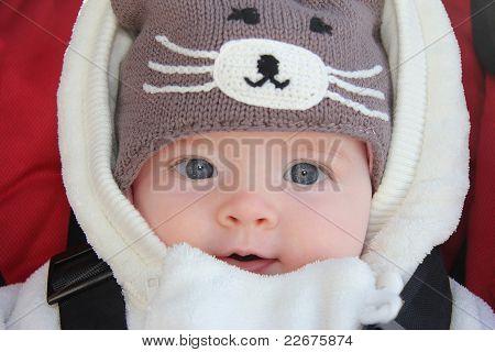Cute Baby Girl Wearing Fun Winter Hat