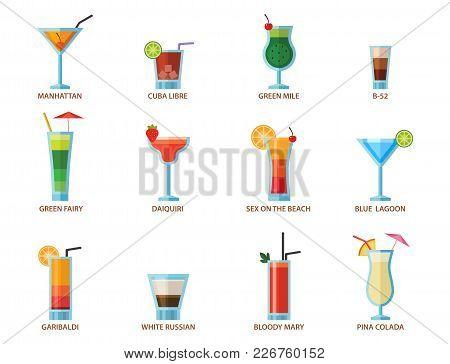 Set Of Alcoholic Cocktails Fruit
