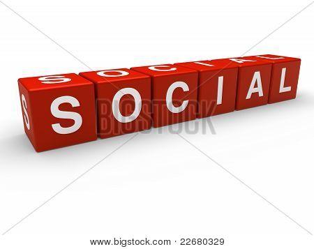 3D cubo Social rojo