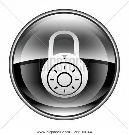Lock Off, Icon Black, Isolated On White Background.