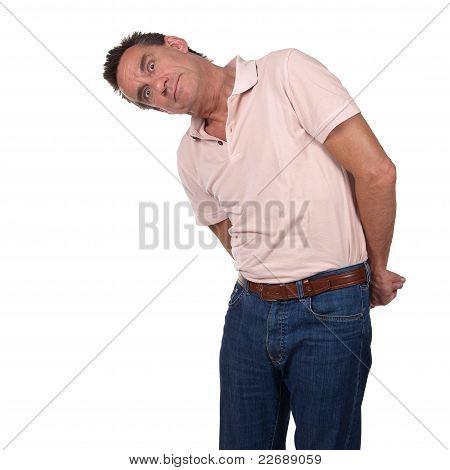 Man Looking Sideways at Something in Surprise