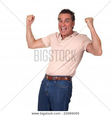 Happy Excited Attractive Middle Age Man Punching Air with Fists