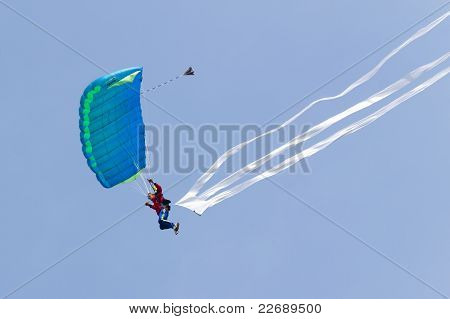 Parachutists Demonstrate Jumping From Airplane