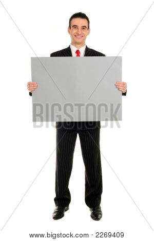 Man Holding Blank Card