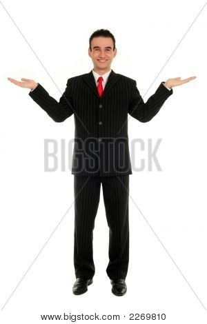 Businessman With Arms Raised