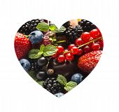 Berries In Heart Shape Isolated On A White. Heart Shape Assorted Berry Fruits On White Background. M poster
