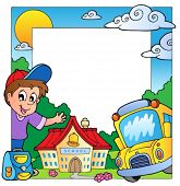 School theme frame 1 - vector illustration.