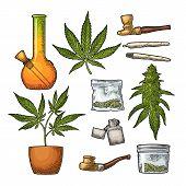 Set Marijuana. Cigarettes, Pipe, Lighter, Buds, Leaves, Bottle, Cigarette, Glass Jar, Plastic Bag, P poster