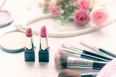 Valentine Gift. Makeup Cosmetics Tools Background And Beauty Cosmetics, Products And Facial Cosmetic poster