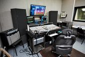 Modern Audio Workstation Equipped With Computer, Microphone On Stand, Control Surface And Loudspeake poster