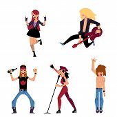 Set Of Young Rock Musicians - Singer, Band Leader, Guitarist, Cartoon Vector Illustration Isolated O poster