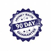 Money Back Guarantee Badge Blue Grunge Sticker Or Stamp Template Isolated Vector Illustration poster