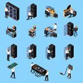 Information Technology Engineer And System Administrator People At Work Isometric Icons Set Isolated poster